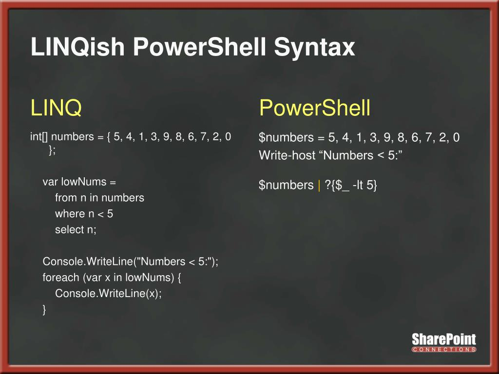 LINQish PowerShell Syntax