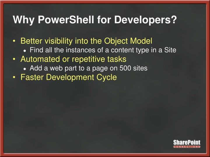 Why powershell for developers