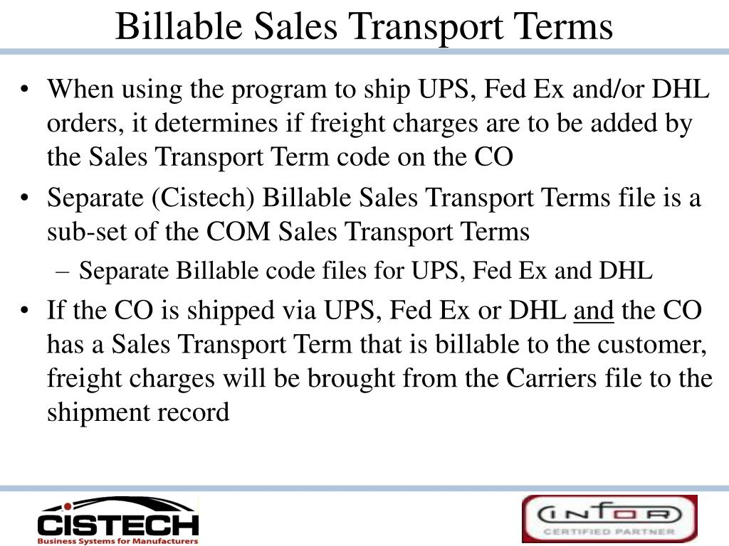 Billable Sales Transport Terms