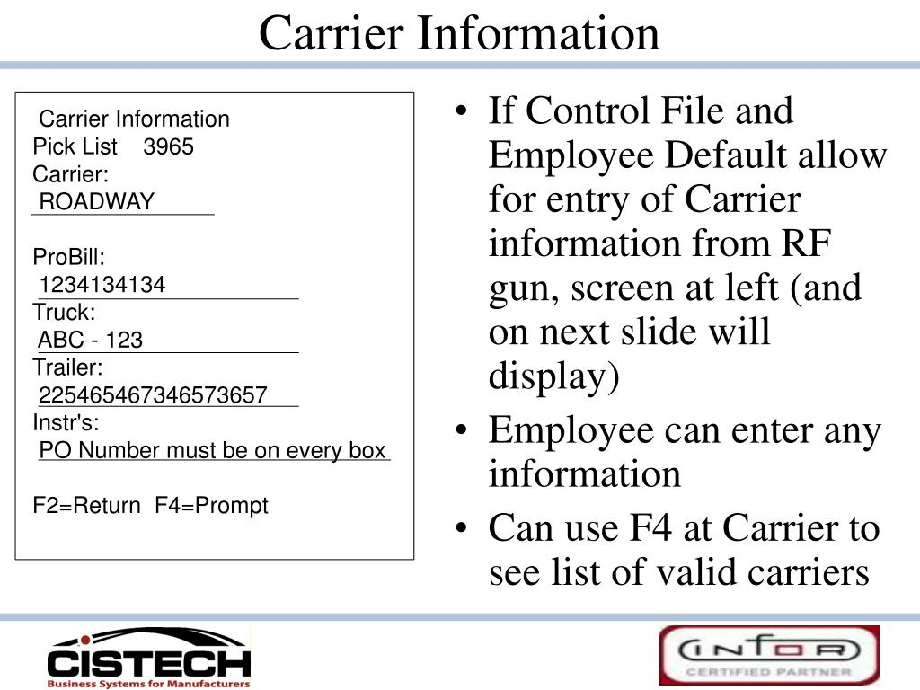 Carrier Information