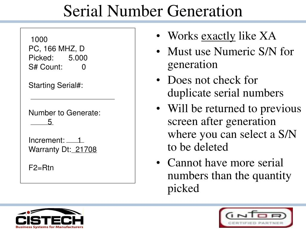 Serial Number Generation