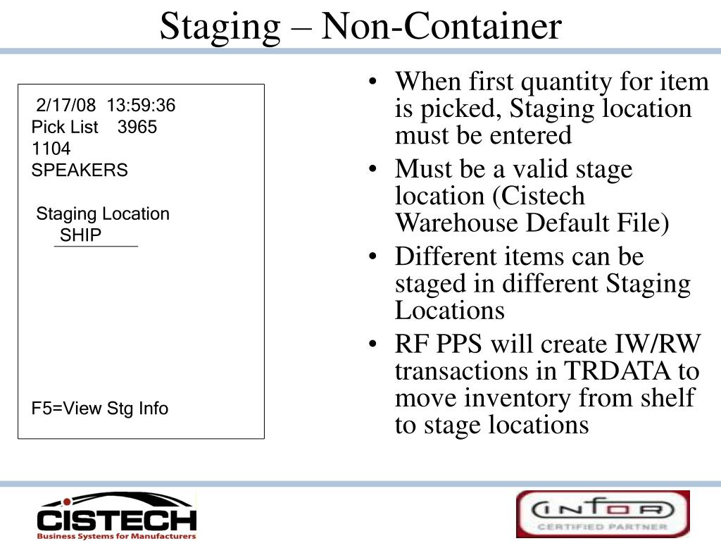 Staging – Non-Container