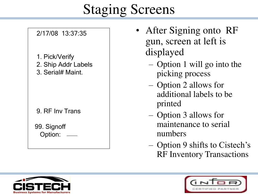 Staging Screens