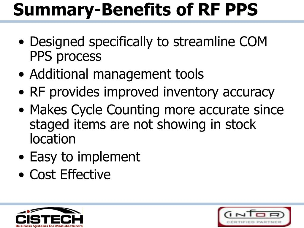 Summary-Benefits of RF PPS
