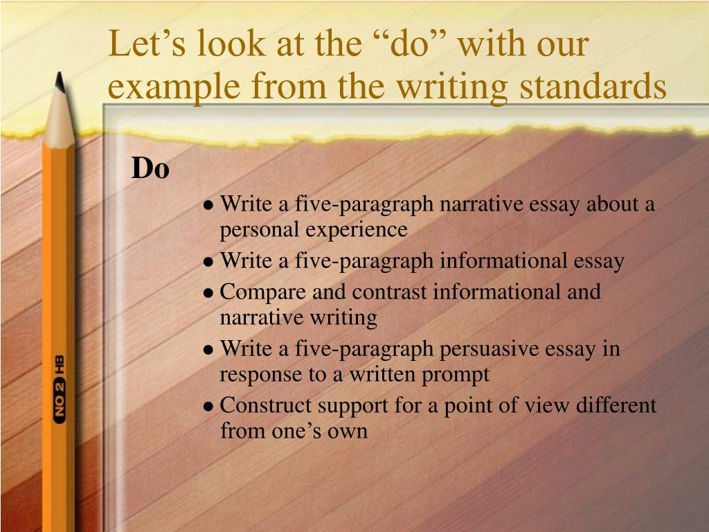 "Let's look at the ""do"" with our example from the writing standards"