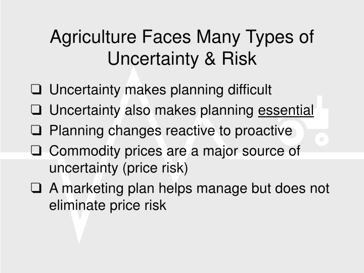 Agriculture faces many types of uncertainty risk