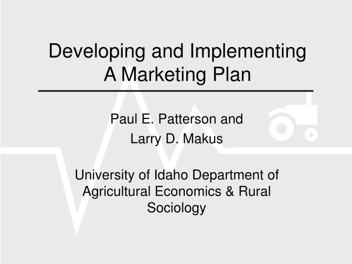 Developing and implementing a marketing plan