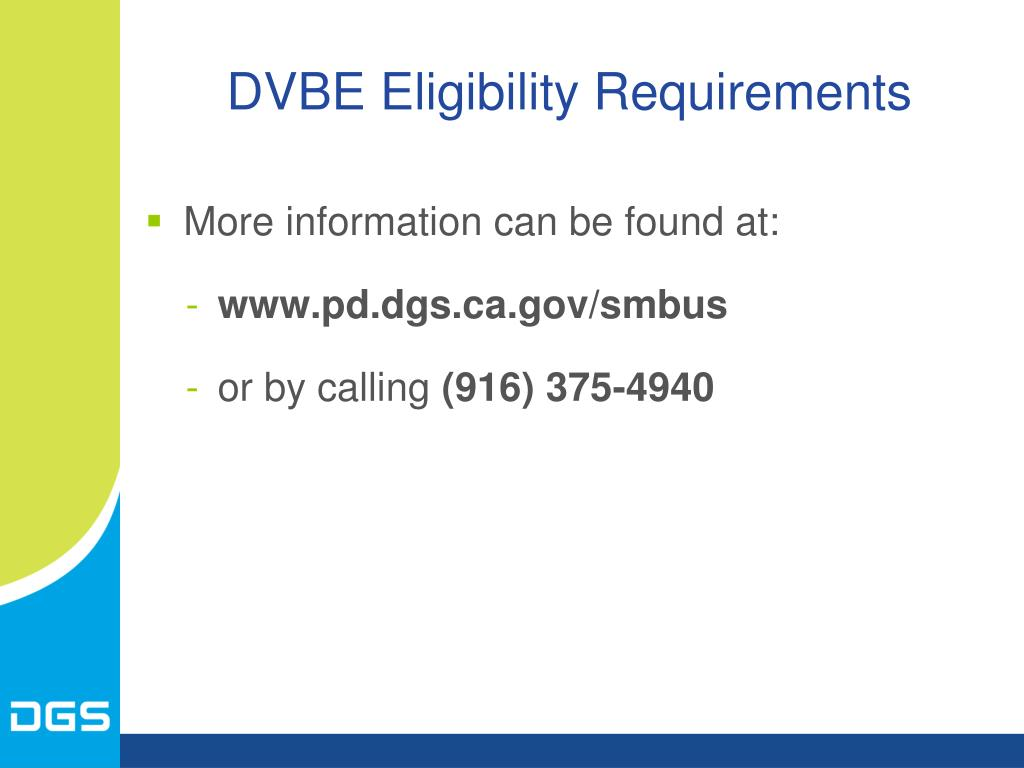DVBE Eligibility Requirements