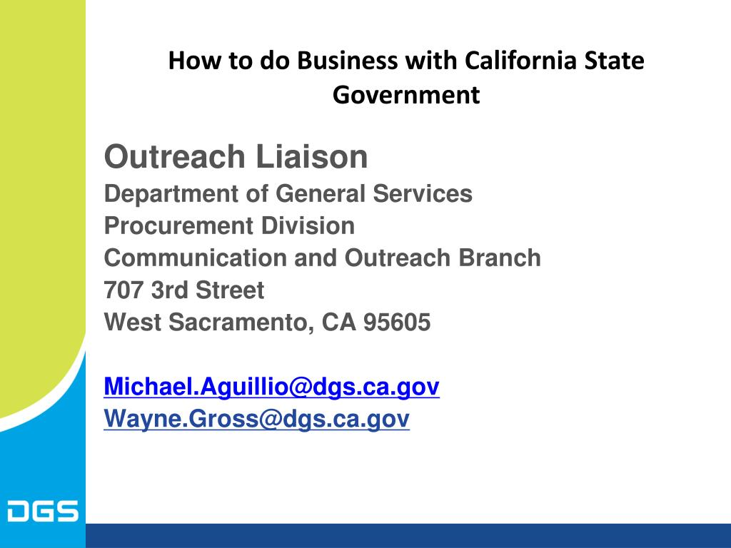 How to do Business with California State Government