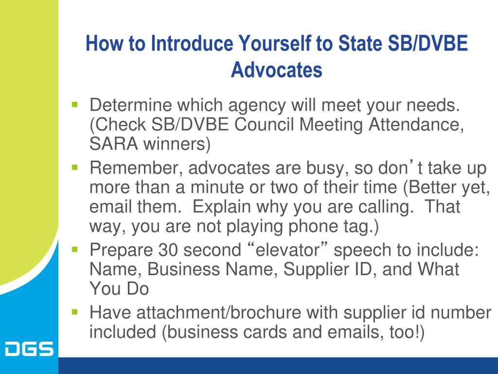 How to Introduce Yourself to State SB/DVBE Advocates
