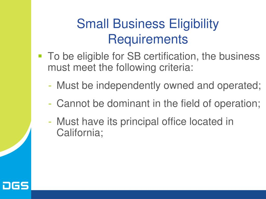Small Business Eligibility Requirements
