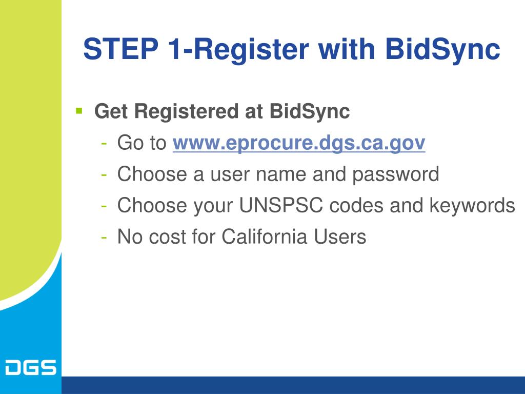 STEP 1-Register with BidSync