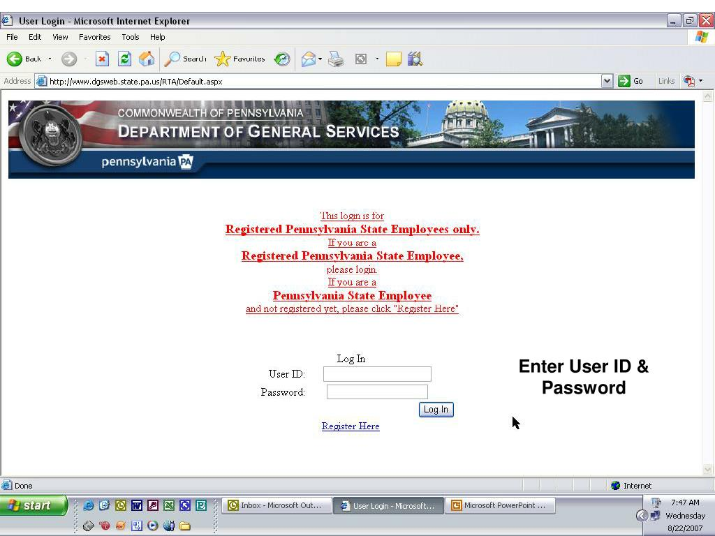 Enter User ID & Password