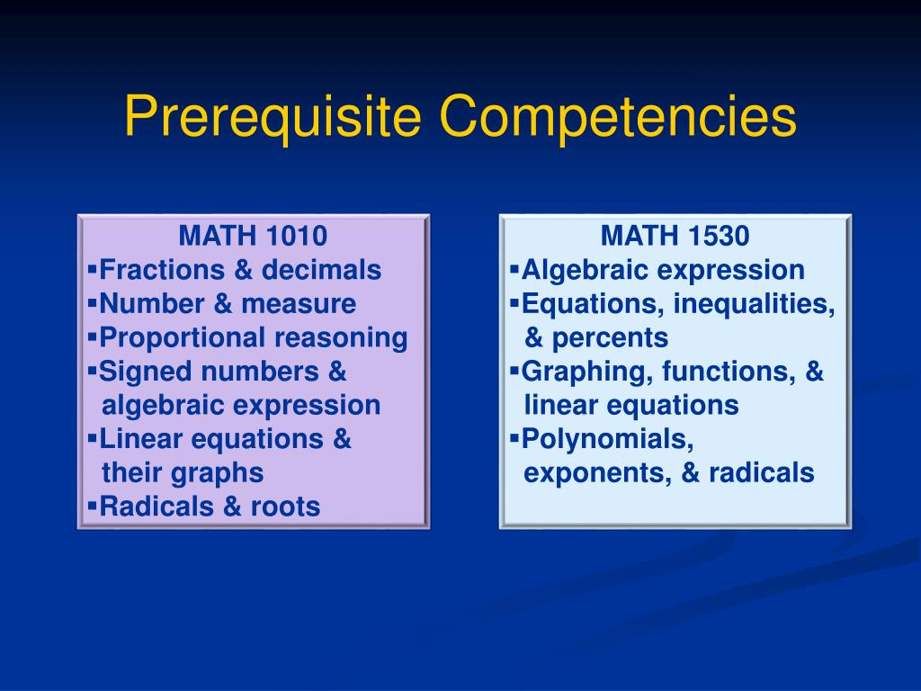 Prerequisite Competencies