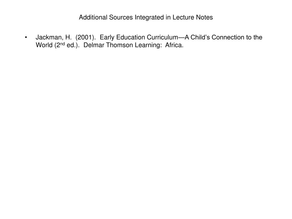 Additional Sources Integrated in Lecture Notes