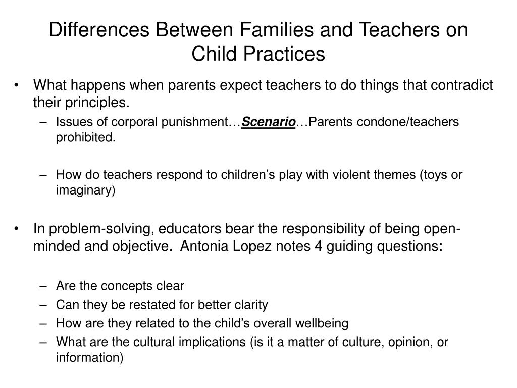 Differences Between Families and Teachers on Child Practices