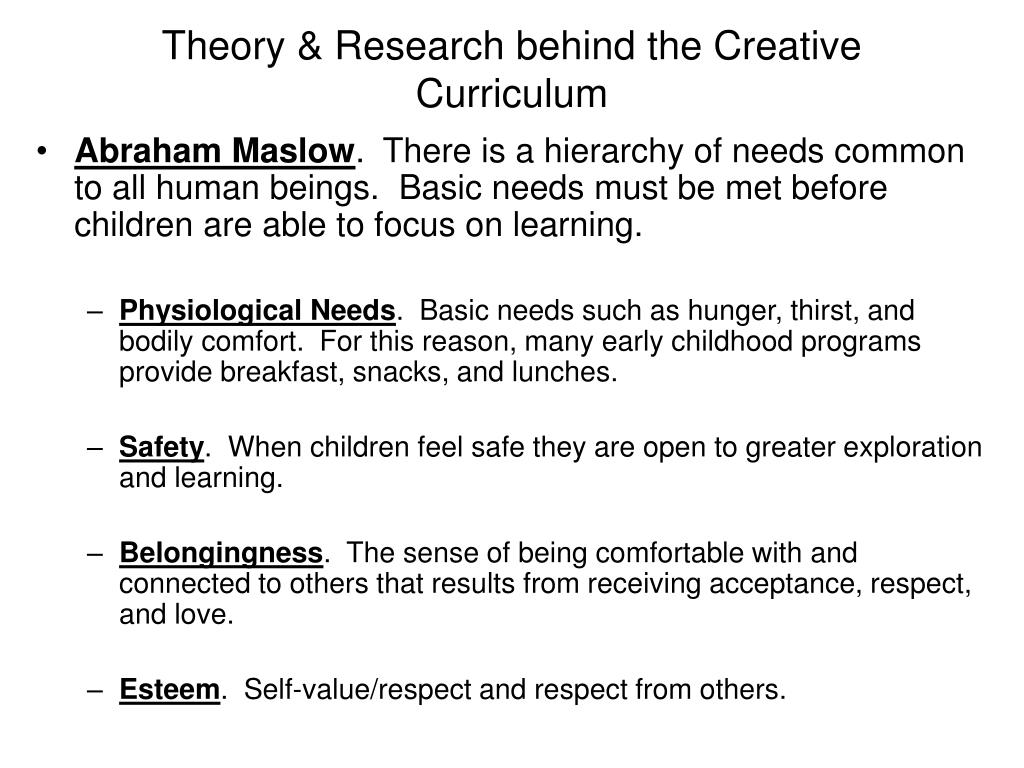 Theory & Research behind the Creative Curriculum