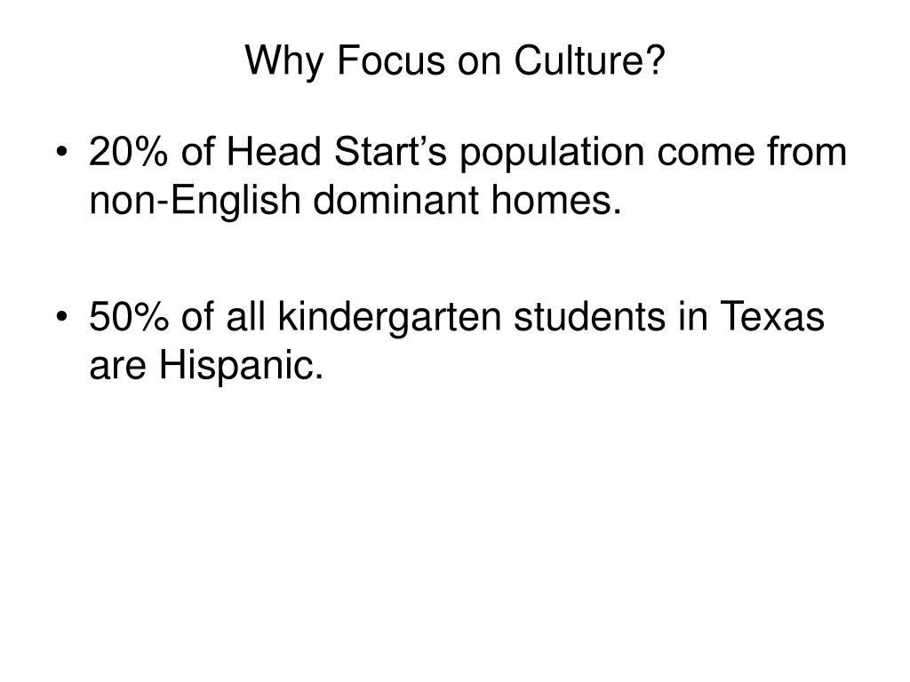 Why Focus on Culture?