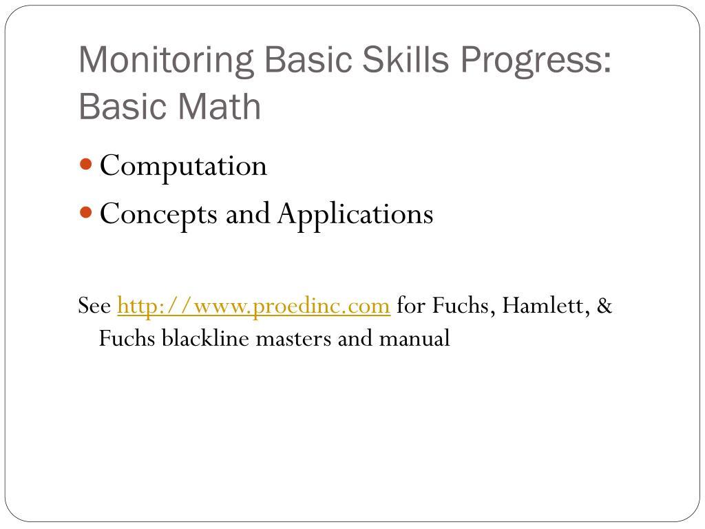 Monitoring Basic Skills Progress: Basic Math