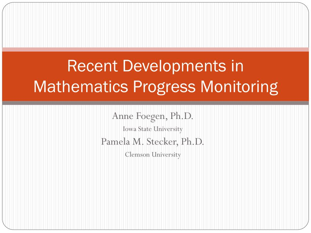 Recent Developments in Mathematics Progress Monitoring