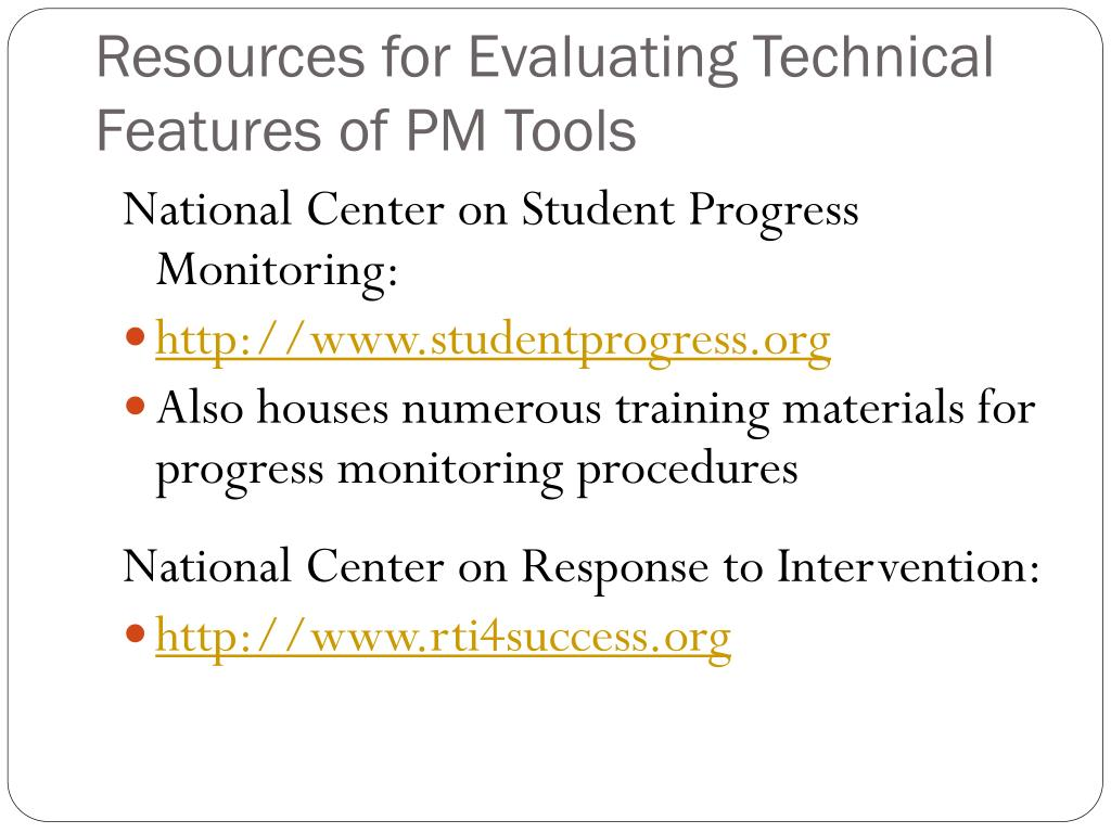 Resources for Evaluating Technical Features of PM Tools