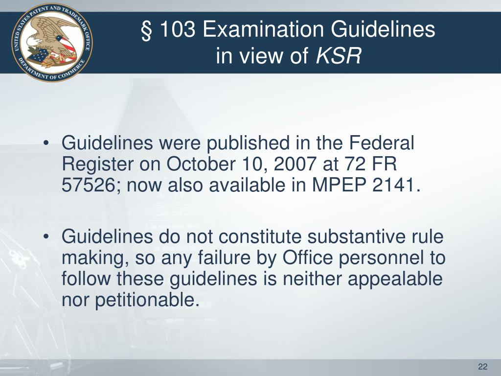 § 103 Examination Guidelines