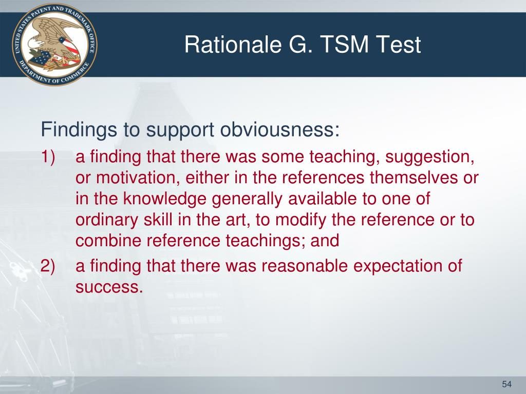 Rationale G. TSM Test