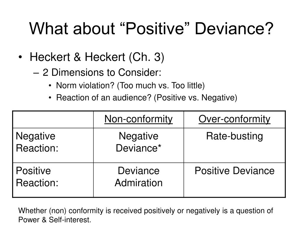 "What about ""Positive"" Deviance?"
