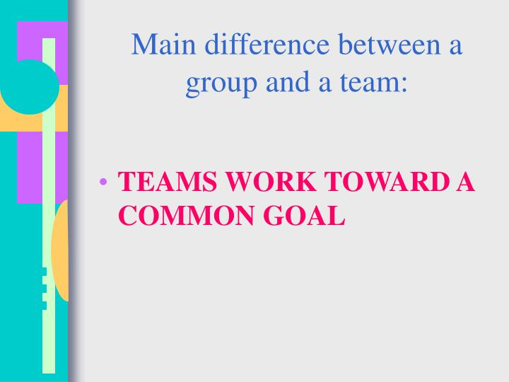 Main difference between a group and a team: