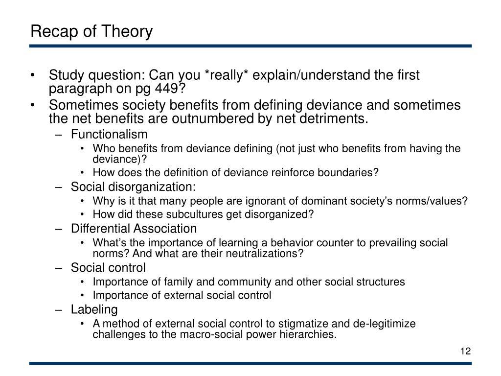 Recap of Theory