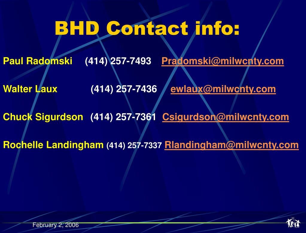 BHD Contact info: