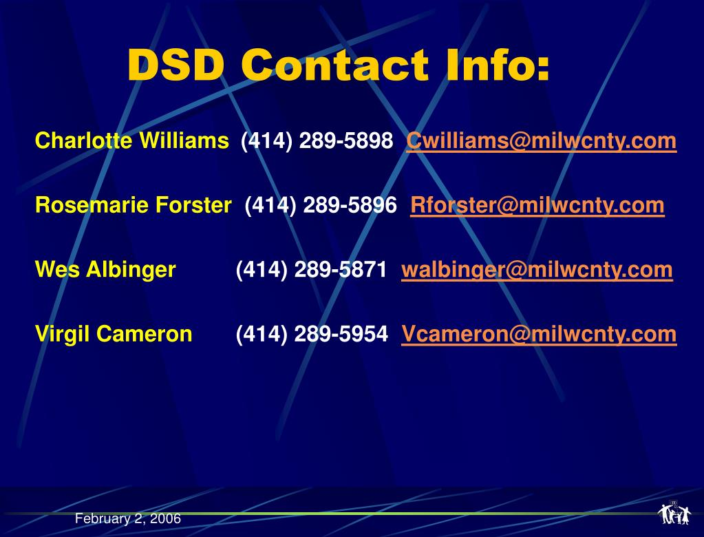 DSD Contact Info: