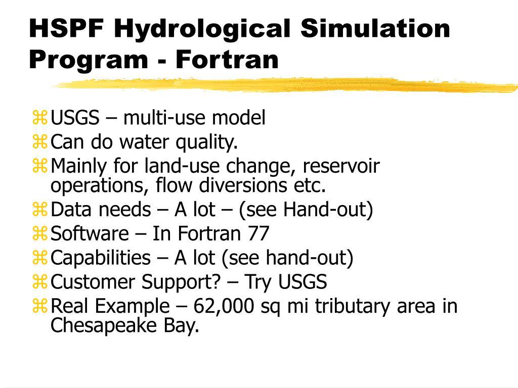 HSPF Hydrological Simulation Program - Fortran