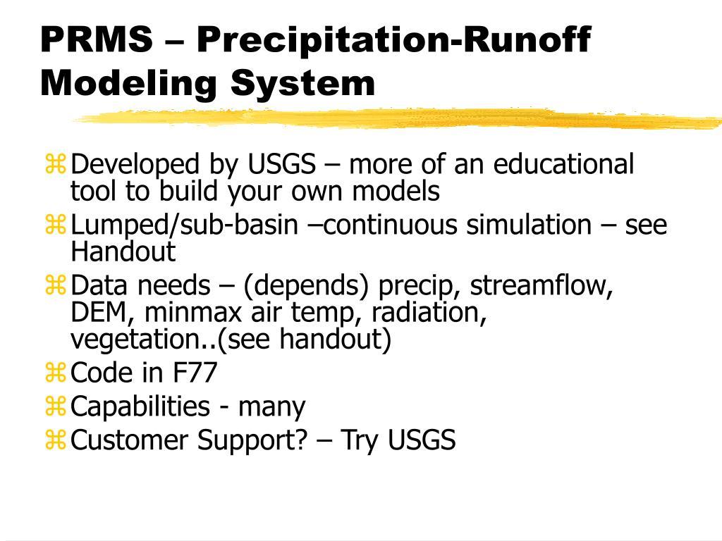 PRMS – Precipitation-Runoff Modeling System