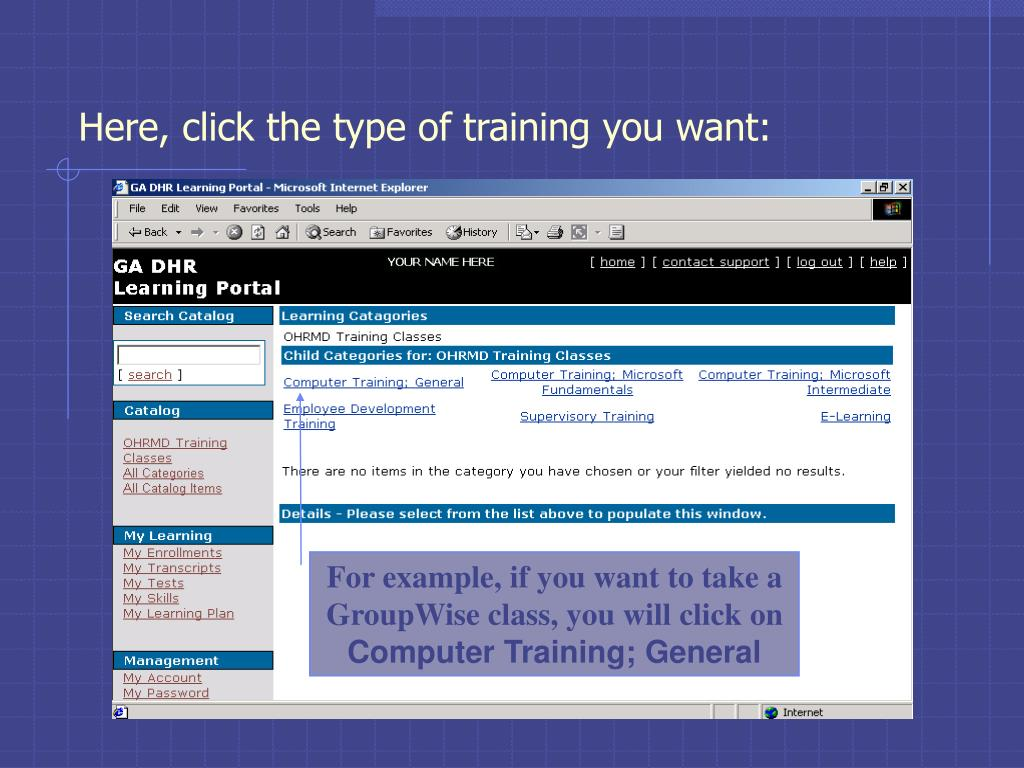 Here, click the type of training you want:
