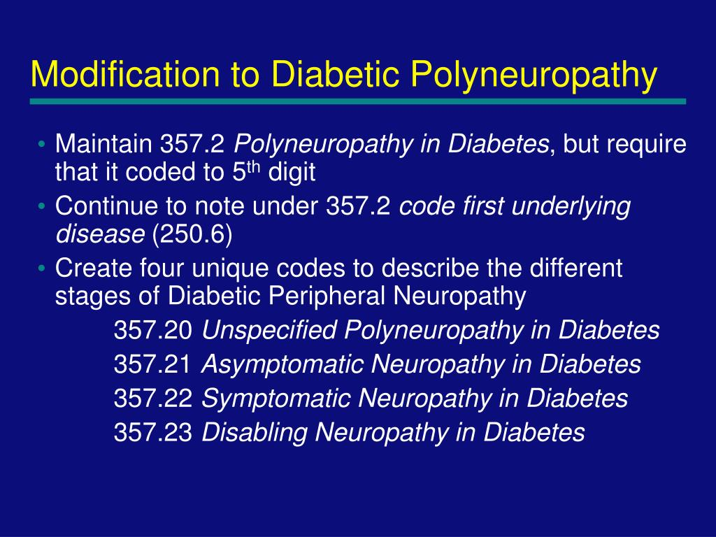 Modification to Diabetic Polyneuropathy