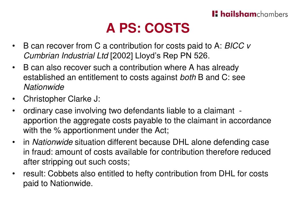 B can recover from C a contribution for costs paid to A:
