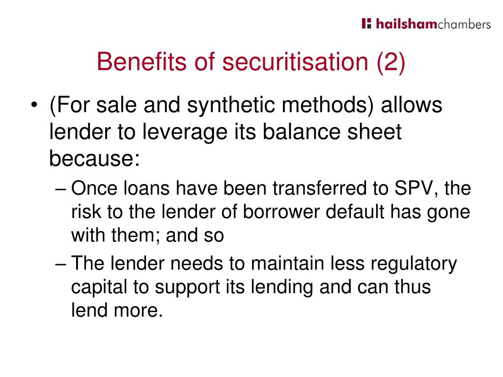 Benefits of securitisation (2)