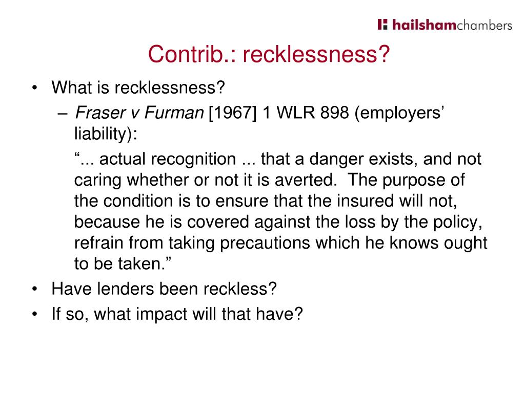 What is recklessness?
