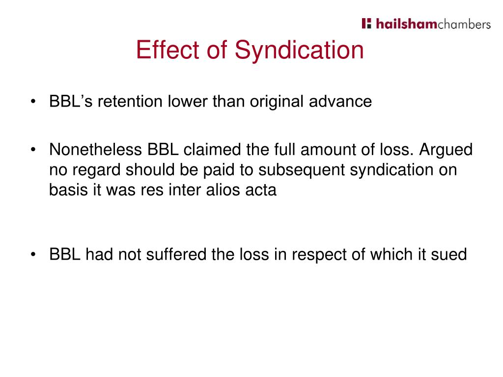 Effect of Syndication