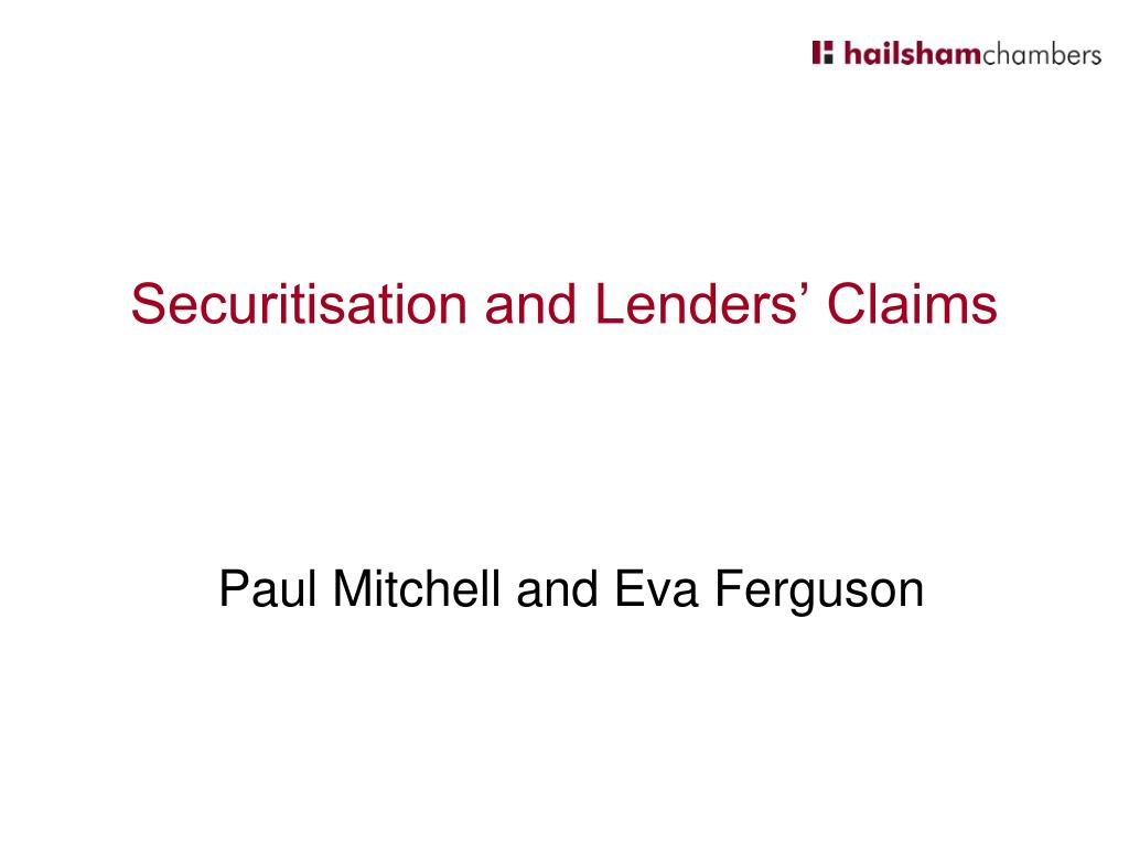 Securitisation and Lenders' Claims