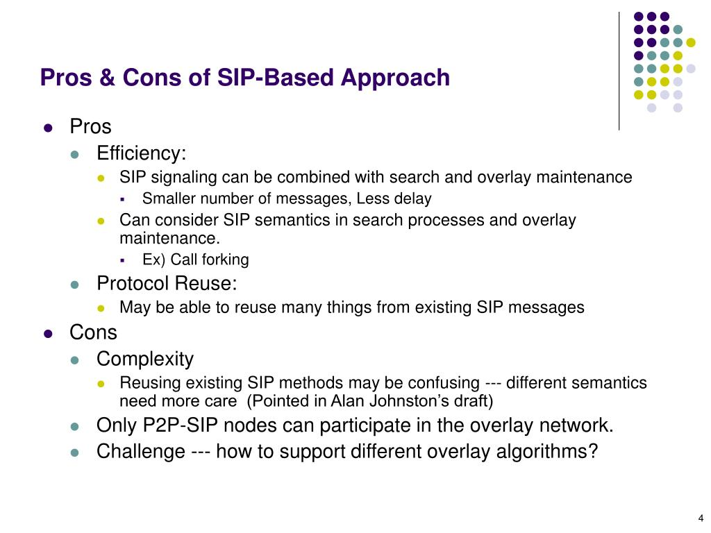 Pros & Cons of SIP-Based Approach
