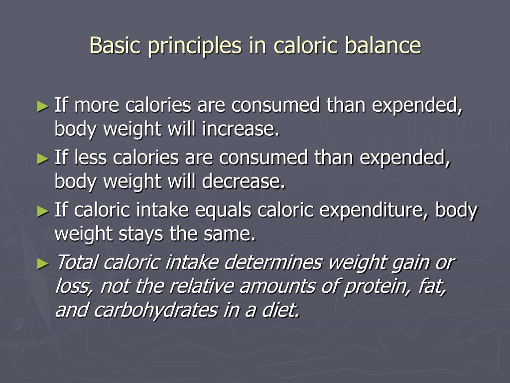 Basic principles in caloric balance