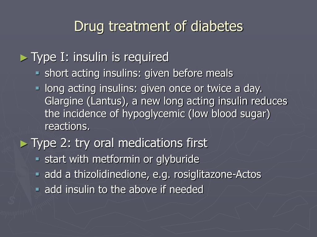 Drug treatment of diabetes