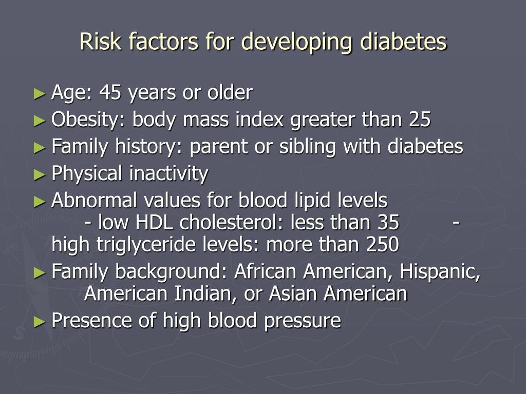Risk factors for developing diabetes