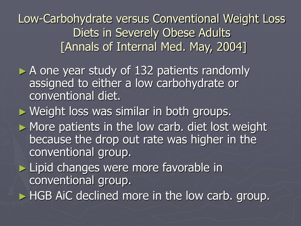 Low-Carbohydrate versus Conventional Weight Loss Diets in Severely Obese Adults