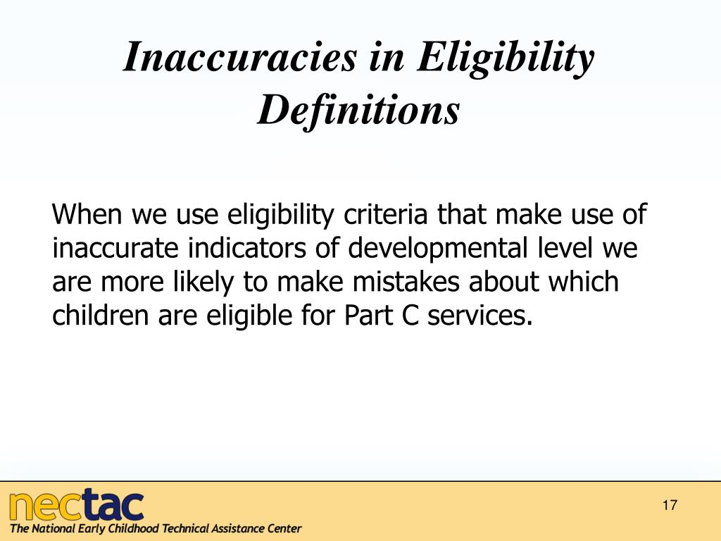 Inaccuracies in Eligibility Definitions
