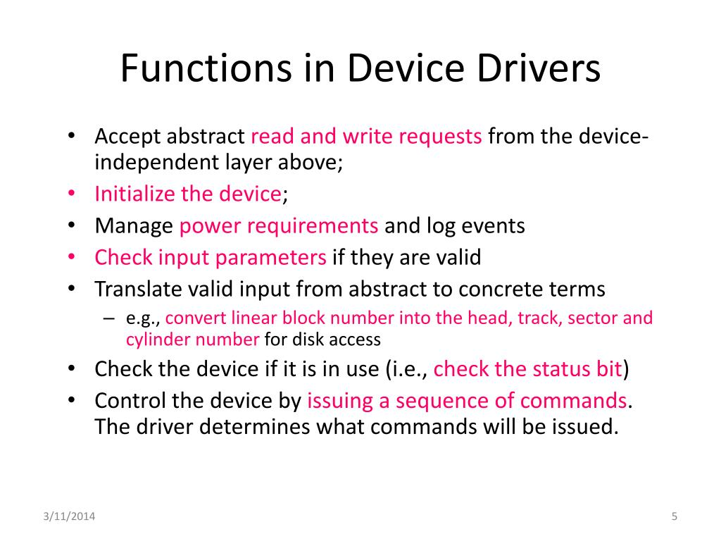 Functions in Device Drivers