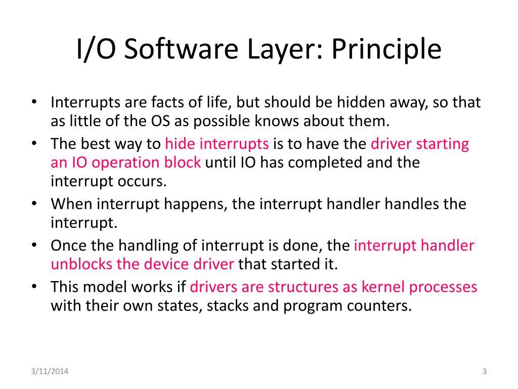 I/O Software Layer: Principle