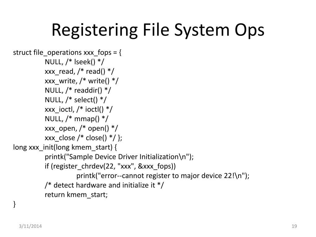 Registering File System Ops